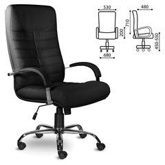 """Кресло офисное """"Орион"""", кожа, хром, монолитный каркас, черное К-11"""