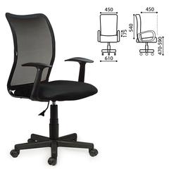 """Кресло BRABIX """"Spring MG-307"""", с подлокотниками, черное, ткань TW"""