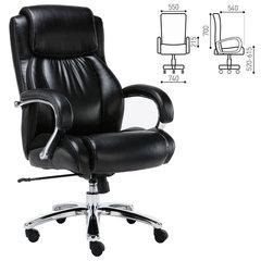 """Кресло офисное BRABIX """"Status HD-003"""", нагрузка до 250 кг, рециклированная кожа, хром, черное"""