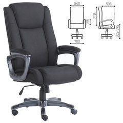 """Кресло офисное BRABIX """"Solid HD-005"""", нагрузка до 180 кг, ткань, черное"""