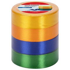 Лента атласная ширина 25 мм, набор №2 4 цвета по 23 м, BRAUBERG, 591502