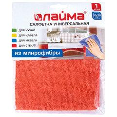 Салфетка универсальная, микрофибра, 30х30 см, оранжевая, ЛАЙМА
