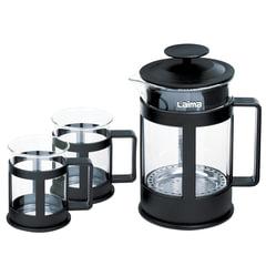 """Набор ЛАЙМА """"Утро"""", френч-пресс 800 мл + 2 стакана 200 мл, жаропрочное стекло/пластик, черный, 601370"""