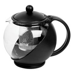 """Заварник (чайник) ЛАЙМА """"Бергамот"""", 1,25 л, стекло/пластик/фильтр - нержавеющая сталь, черный"""