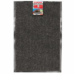 Коврик входной ворсовый влаго-грязезащитный LAIMA, 60х90 см, ребристый, толщина 7 мм, черный, 602869