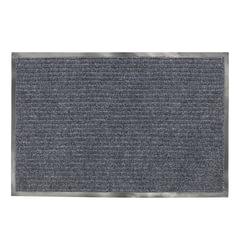 Коврик входной ворсовый влаго-грязезащитный LAIMA, 90х120 см, ребристый, толщина 7 мм, серый, 602872
