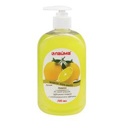"""Мыло-крем жидкое 500 мл, ЛАЙМА """"Лимон"""", с антибактериальным эффектом, дозатор, 603093"""