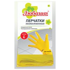 Перчатки хозяйственные латексные ЛЮБАША ЭКОНОМ, МНОГОРАЗОВЫЕ, хлопчатобумажное напыление, размер L (большой)