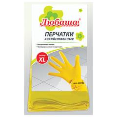 Перчатки хозяйственные латексные ЛЮБАША ЭКОНОМ, МНОГОРАЗОВЫЕ, хлопчатобумажное напыление, размер XL (очень большой), 603786