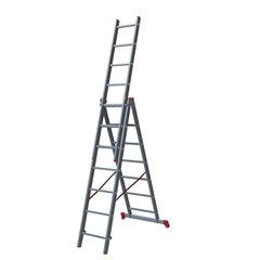 Лестница-трансформер 3-х секционная 3х7 ступеней, 3х1,9 м, высота 4,5 м, нагрузка 150 кг, алюминий, НОВАЯ ВЫСОТА