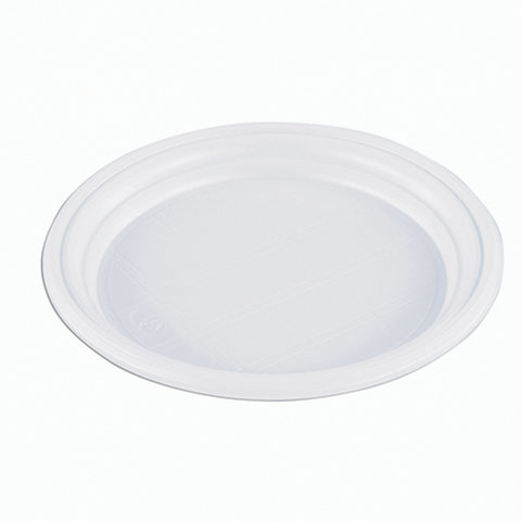 """Одноразовые тарелки, комплект 100 шт., """"Эконом"""", плоские, d - 165 мм, полистирол (ПС), белые, СТИРОЛПЛАСТ"""