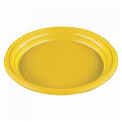 """Одноразовые тарелки, комплект 100 шт., """"Эконом"""", плоские, d-165 мм, полистирол (ПС), желтые, СТИРОЛПЛАСТ"""