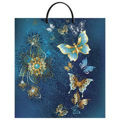"""Пакет с пластиковой ручкой ПВД, 44х40 см, """"Золотые бабочки"""", 100 мкм"""