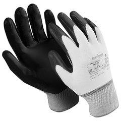 """Перчатки нейлоновые MANIPULA """"Микронит"""", нитриловое покрытие (облив), размер 9 (L), белые/черные, TNI-14"""