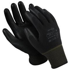 """Перчатки нейлоновые MANIPULA """"Микропол"""", полиуретановое покрытие (облив), размер 7 (S), черные, TPU-12"""