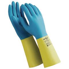 """Перчатки латексно-неопреновые MANIPULA """"Союз"""", хлопчатобумажное напыление, размер 10-10,5 (XL), синие/желтые, LN-F-05"""