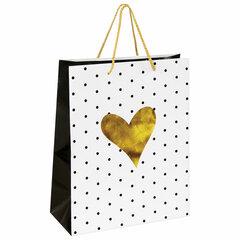 """Пакет подарочный 26x12,7x32,4 см, ЗОЛОТАЯ СКАЗКА """"Золотое сердце"""", ламинированный, 606583"""