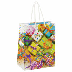 """Пакет подарочный 17,8x9,8x22,9 см, ЗОЛОТАЯ СКАЗКА """"Яркие подарки"""", ламинированный, 606591"""