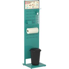 Стойка дезинфекции 1,5 м (локтевой дозатор, держатель полотенца ведро для мусора) бирюзовая, 607563