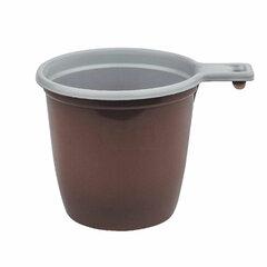Чашка одноразовая для чая и кофе 200 мл, КОМПЛЕКТ 50 шт., пластик, бело-коричневые, 607601