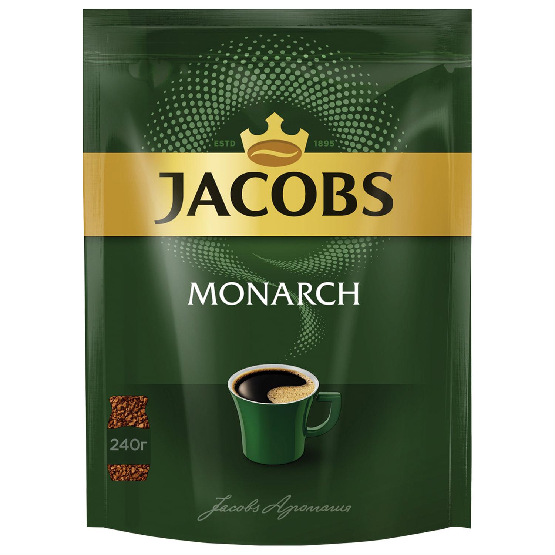 """Кофе растворимый JACOBS """"Monarch"""", сублимированный, 240 г, мягкая упаковка"""