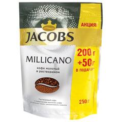"""Кофе молотый в растворимом JACOBS (Якобс) """"Millicano"""", 250 г, мягкая упаковка"""