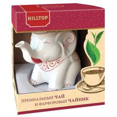 """Чай HILLTOP """"Земляника со сливками"""" черный листовой 80 г, фарфоровый чайник """"СЛОН ГРАНАТ"""" 650 мл"""
