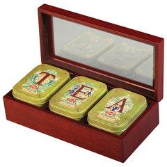 """Чай HILLTOP """"Tea"""", 3 чайницы с коллекцией листового чая в деревянной шкатулке, 150 г"""