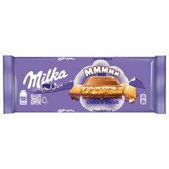 Шоколад MILKA (Милка), молочный, с шоколадной и молочной начинками и печеньем, 300 г