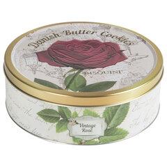 """Печенье Датское BISQUINI (Бисквини) """"Vintage Rose"""" Винтажная Роза, ассорти, жестяная банка, 400 г"""