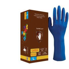 Перчатки латексные смотровые КОМПЛЕКТ 25 пар (50шт), повышенной прочности, размер L (большой),удлиненные, синие, SAFE&CARE High Risk, DL 215