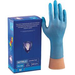 Перчатки нитриловые смотровые КОМПЛЕКТ 100 пар (200 шт.), размер M (средний), голубые, SAFE&CARE, TN303/LN303