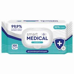 Дезинфицирующие салфетки спиртовые 100 штук SMART MEDICAL, крышка-клапан