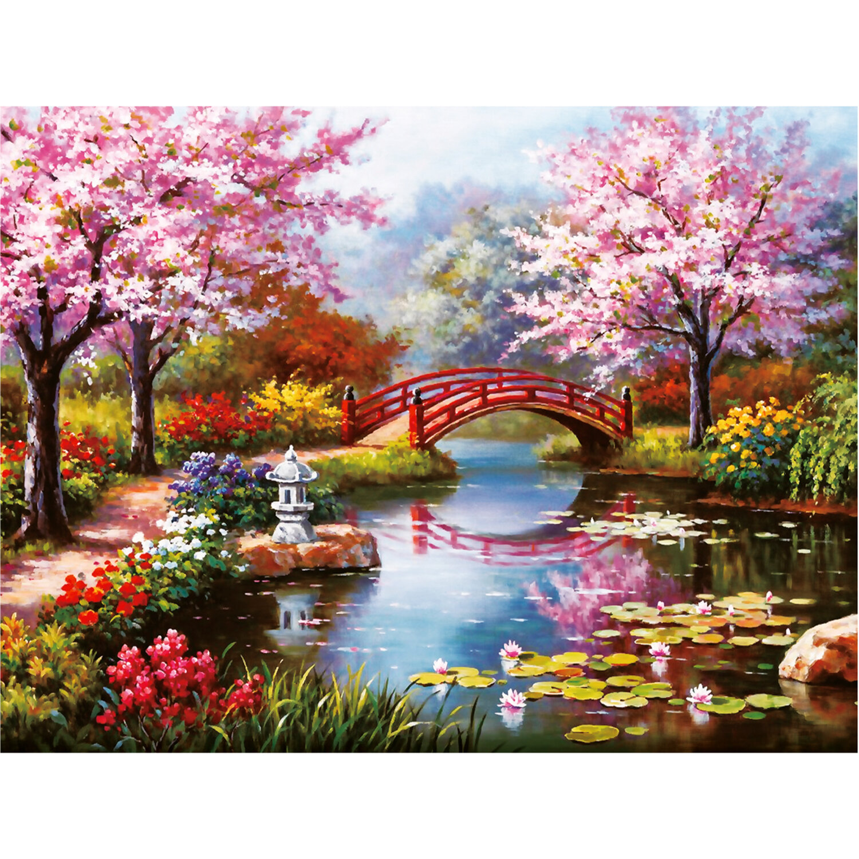 """Картина стразами (алмазная мозаика) 30х40 см, ОСТРОВ СОКРОВИЩ """"Японский сад"""", на подрамнике, 662424"""