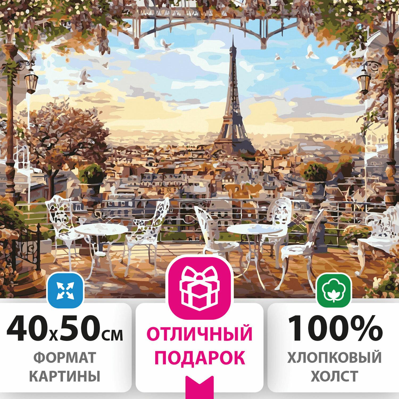 """Картина по номерам 40х50 см ОСТРОВ СОКРОВИЩ """"Париж"""", на подрамнике, акриловые краски, 3 кисти, 662466"""