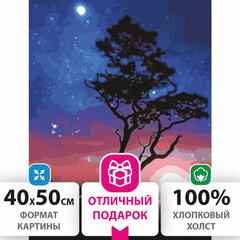 """Картина по номерам 40х50 см, ОСТРОВ СОКРОВИЩ """"Звездная ночь"""", на подрамнике, акриловые краски, 3 кисти, 662495"""