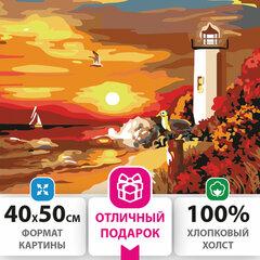 """Картина по номерам 40х50 см, ОСТРОВ СОКРОВИЩ """"Морской закат"""", на подрамнике, акриловые краски, 3 кисти, 662498"""