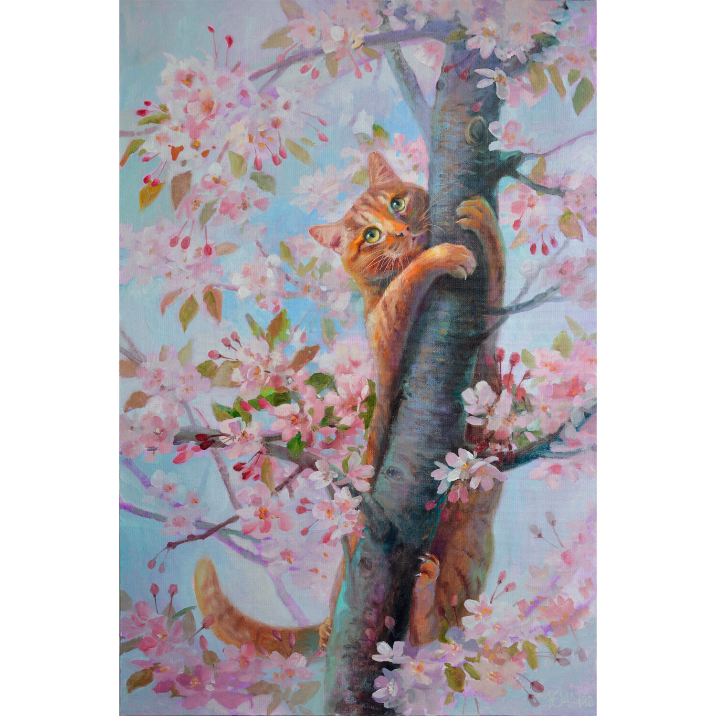 """Картина стразами (алмазная мозаика) 40х50 см, ОСТРОВ СОКРОВИЩ """"Кот на дереве"""", без подрамника, 662577"""