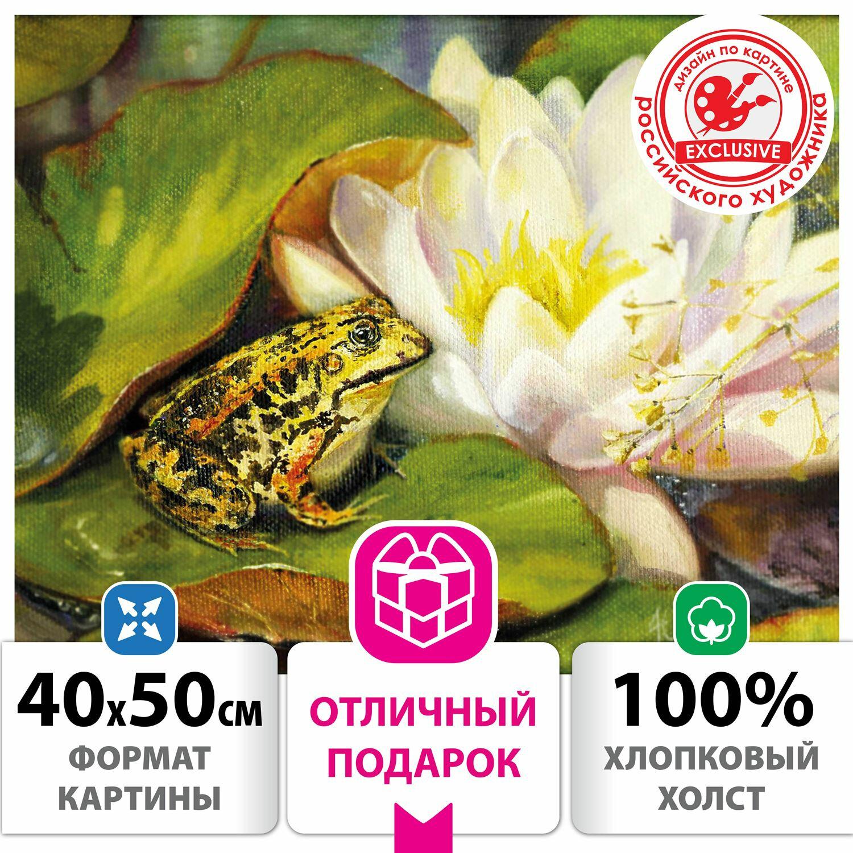"""Картина по номерам 40х50 см, ОСТРОВ СОКРОВИЩ """"Водная идиллия"""", на подрамнике, акрил, кисти, 662907"""