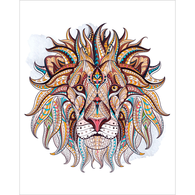 """Картина по номерам 40х50 см, ОСТРОВ СОКРОВИЩ """"Этнический лев"""", на подрамнике, акрил, кисти, 663347"""