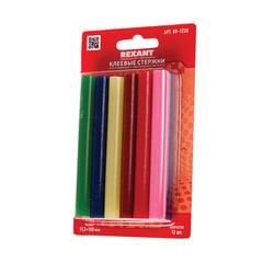 Клеевые стержни, диаметр 11 мм, цветные, REXANT, комплект 12 шт., длина 100 мм, блистер, ассорти, 09-1230
