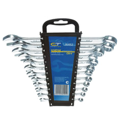 Набор ключей комбинированных 6-22 мм, 12 шт., СИБРТЕХ, CrV, хромированные, держатель с подвесом