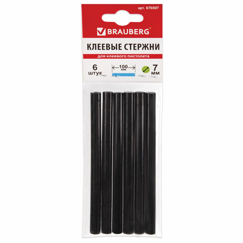 Клеевые стержни, диаметр 7 мм, длина 100 мм, черные, комплект 6 штук, BRAUBERG, европодвес, 670307