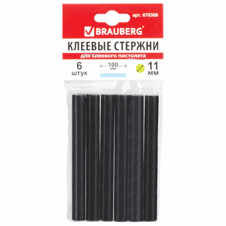 Клеевые стержни, диаметр 11 мм, длина 100 мм, черные, комплект 6 штук, BRAUBERG, европодвес, 670308