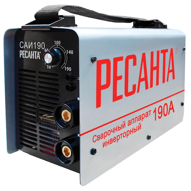 Сварочный аппарат инверторный САИ 190 РЕСАНТА, сварочный ток до 190 А, диаметр электрода до 5 мм