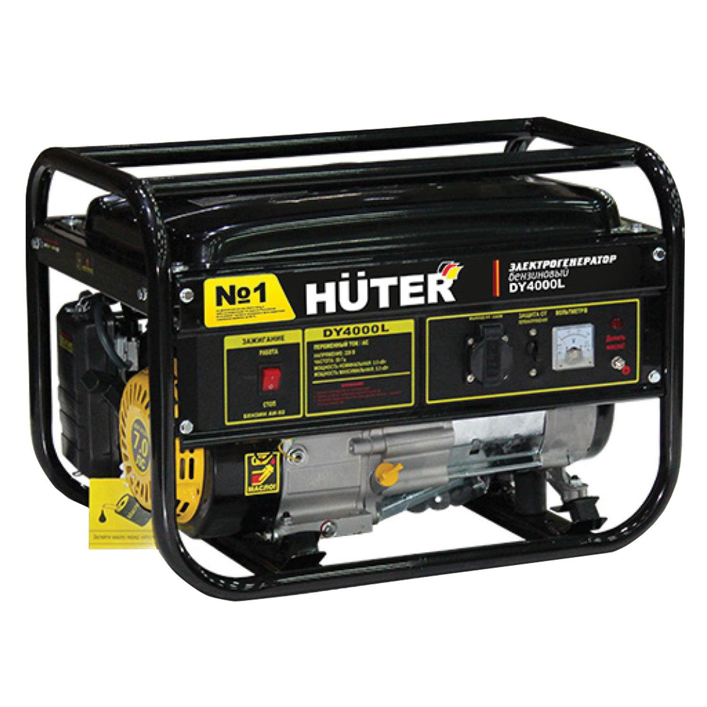 Электрогенератор Huter DY4000L, бензиновый, мощность 3,3 кВт, напряжение 220 В, ручной стартер, 64/1/21