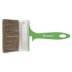 Кисть плоская 100 мм, смешанная щетина, пластиковая ручка, для работ по дереву, MATRIX, 83376