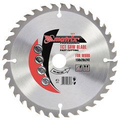 Пильный диск по дереву, 185х20 мм, 24 зуба + кольцо 16/20, MATRIX Professional, 73223