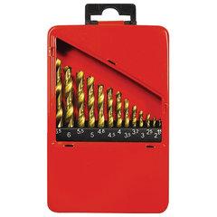 Набор сверл по металлу, 1,5-6,5 мм (через 0,5 мм + 3,2 мм; 4,8 мм), HSS, 13 шт., нитрид титана, MATRIX, 72386