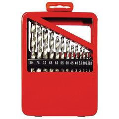 Набор сверл по металлу, 1-10 мм (через 0,5 мм), HSS, 19 шт., металлическая коробка, цилиндрический хвостовик, MATRIX, 72388